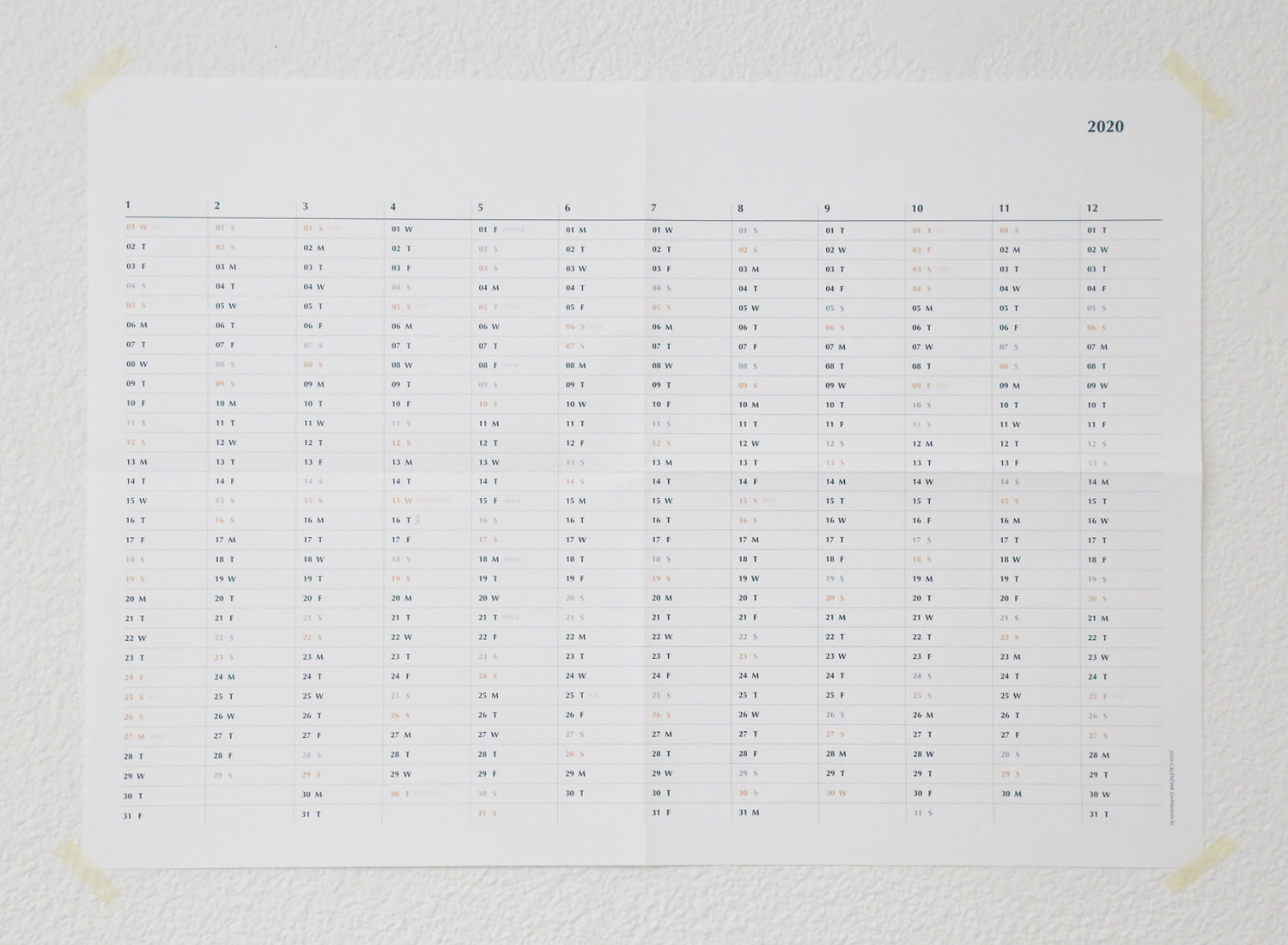 2020 Wall Calendar horizontal