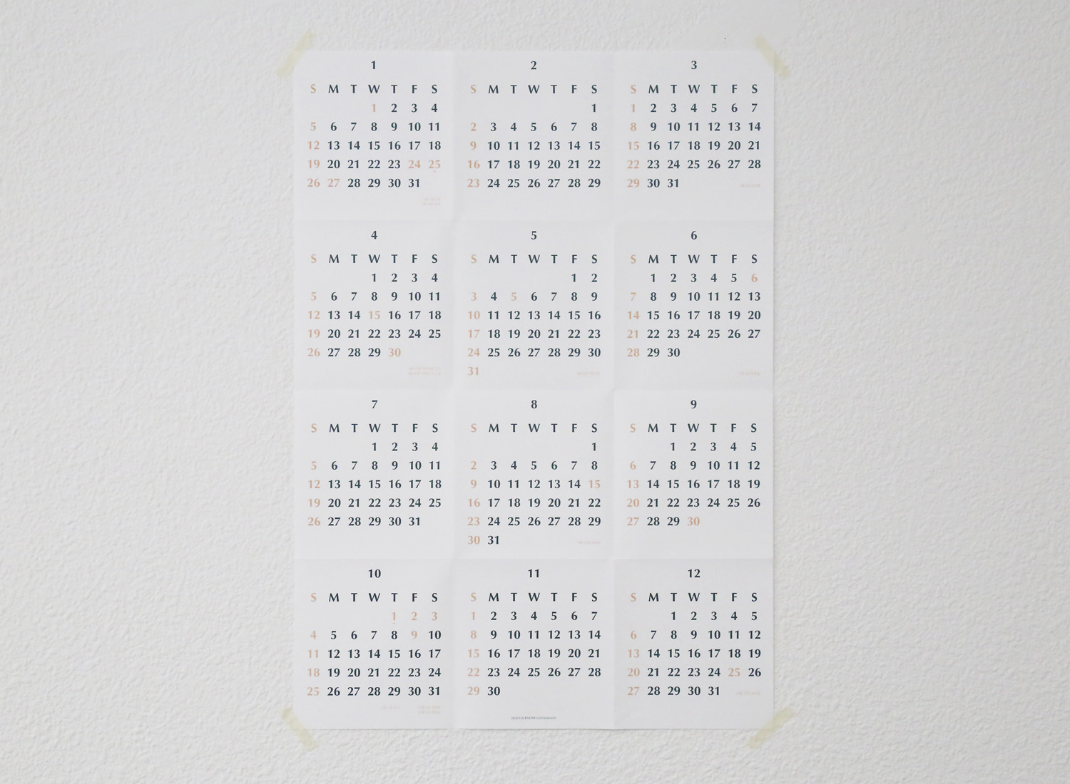 2020 Wall Calendar vertical